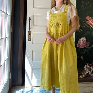 Vintage Mustard Yellow Overall Embroidered Dress